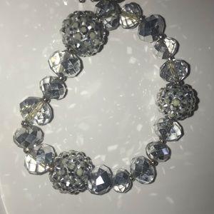 Silver Beaded Necklace and Bracelet Set